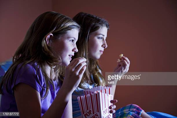 Tween girls watching TV