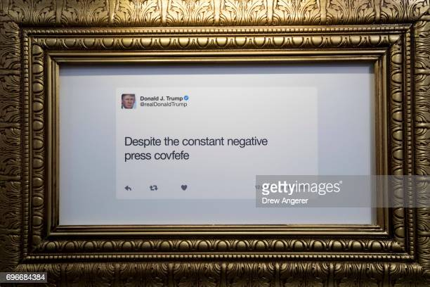 A tweet is displayed at The Daily Showproduced 'Donald J Trump Presidential Twitter Library' June 16 2017 in New York City The parody library...