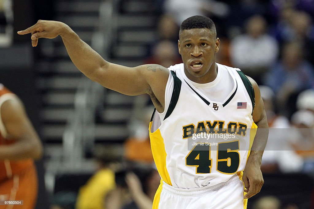 Tweety Carter #45 of the Baylor Bears reacts afer making a basket in the second half while taking on the Texas Longhorns during the quarterfinals of the 2010 Phillips 66 Big 12 Men's Basketball Tournament at the Sprint Center on March 11, 2010 in Kansas City, Missouri.