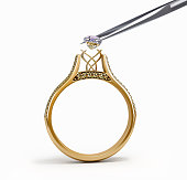tweezers inserts diamond ring 3d illustration