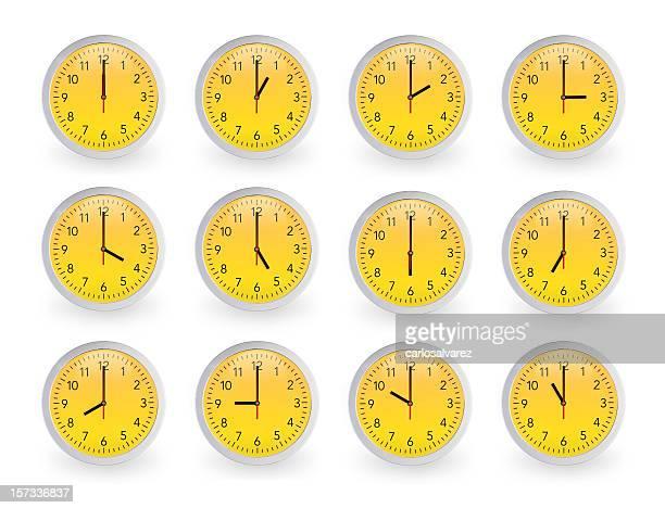 Twelve clocks, 12 hours.