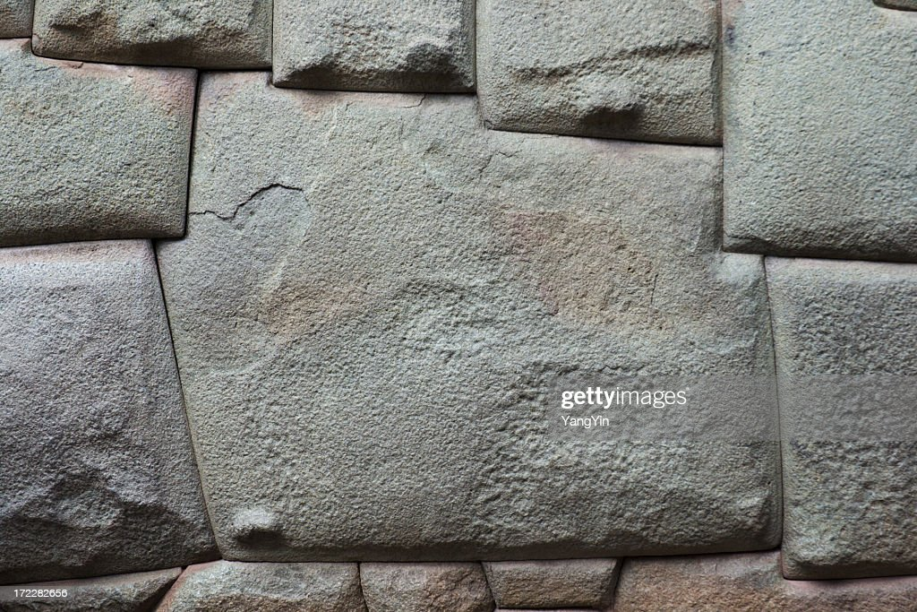 twelve corners wall stone angles carved by inca cuzco peru stock photo