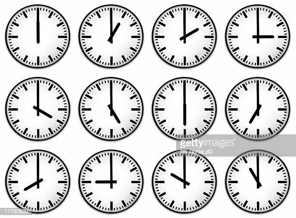 Twelve hours clock face