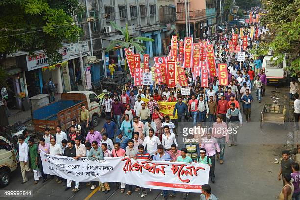 Twelve Leftist Youth Party holding a protest rally demanding the justice for twenty three lakh candidate regarding lack of transparency and...
