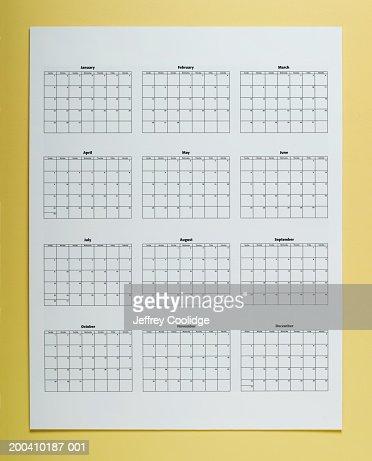 Twelve month wall calendar