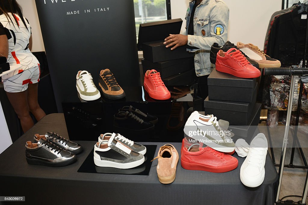 Twelve Sons shoes are displayed at the BETX gifting suite during the 2016 BET Experience on June 25, 2016 in Los Angeles, California.