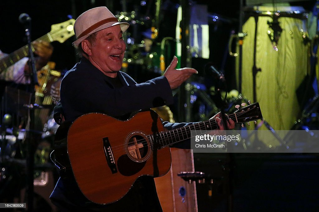 Twelve time Grammy award winner <a gi-track='captionPersonalityLinkClicked' href=/galleries/search?phrase=Paul+Simon+-+Musiker&family=editorial&specificpeople=204186 ng-click='$event.stopPropagation()'>Paul Simon</a> performs on stage during the Timbre Rock & Roots Festival 2013 on March 22, 2013 in Singapore.