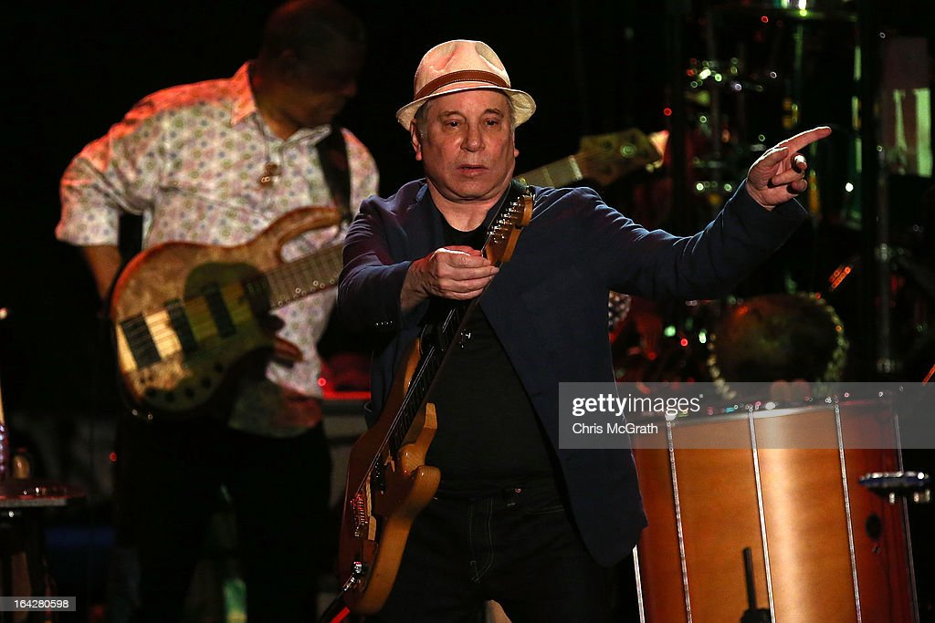 Twelve time Grammy award winner <a gi-track='captionPersonalityLinkClicked' href=/galleries/search?phrase=Paul+Simon+-+Musician&family=editorial&specificpeople=204186 ng-click='$event.stopPropagation()'>Paul Simon</a> performs on stage during the Timbre Rock & Roots Festival 2013 on March 22, 2013 in Singapore.