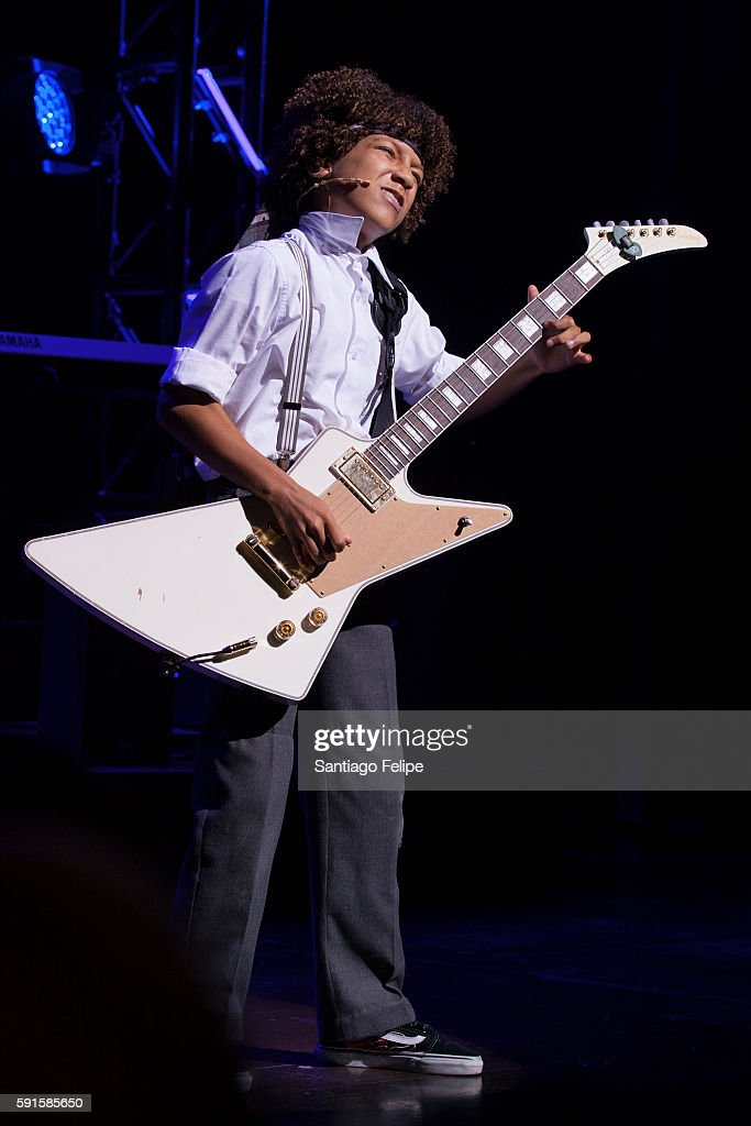 Twelve year old guitar prodigy Brandon Niederauer performs his own rendition of 'The Star Spangled Banner' onstage on the eve of the anniversary of...