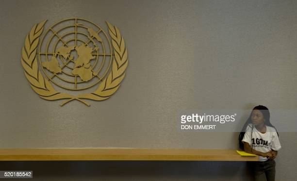 Twelve yearold Nthabiseng Tshabalala from South Africa waits for a meeting with the United Nations Secretary General Ban Kimoon September 22 2010...