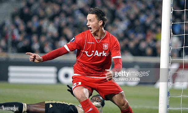 Twente's Arnautovic Maruo reacts after scoring a goal during the UEFA football cup match Marseille vs Twente on February 19 2009 at the Velodrome...
