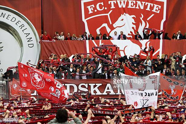 FC Twente's supporters celebrate with their team their first ever Dutch league title and a place in the Champions League elite on May 3 2010 in...