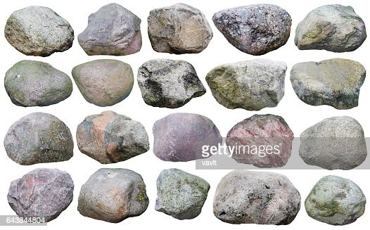Twenty big granite stones and  boulders of various forms and colors  set. Isolated on white collage from many  outdoor photos : Stock Photo