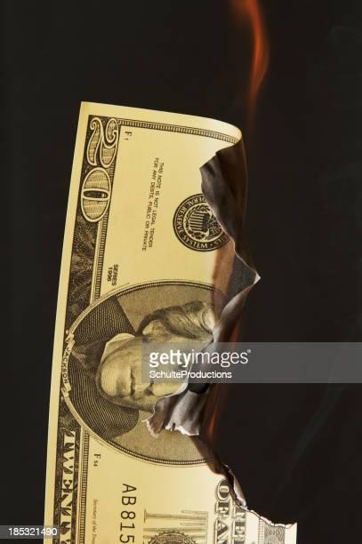 Twenty Dollar Bill on Fire