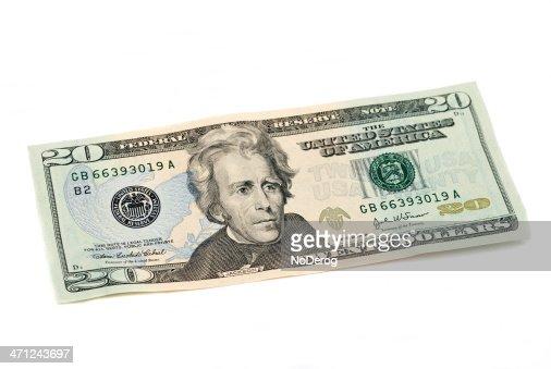 Twenty dollar bill United States currency on white