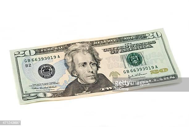 Billete de veinte dólares de la moneda de Estados Unidos en blanco