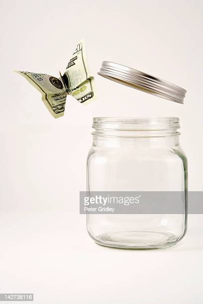 Twenty dollar butterfly flying out of a glass jar