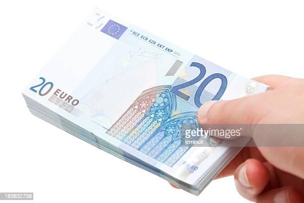 Twenty euro wad of cash