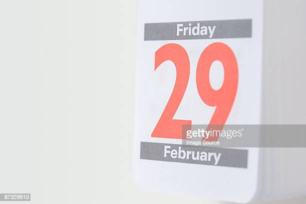 Twenty ninth february on a calendar