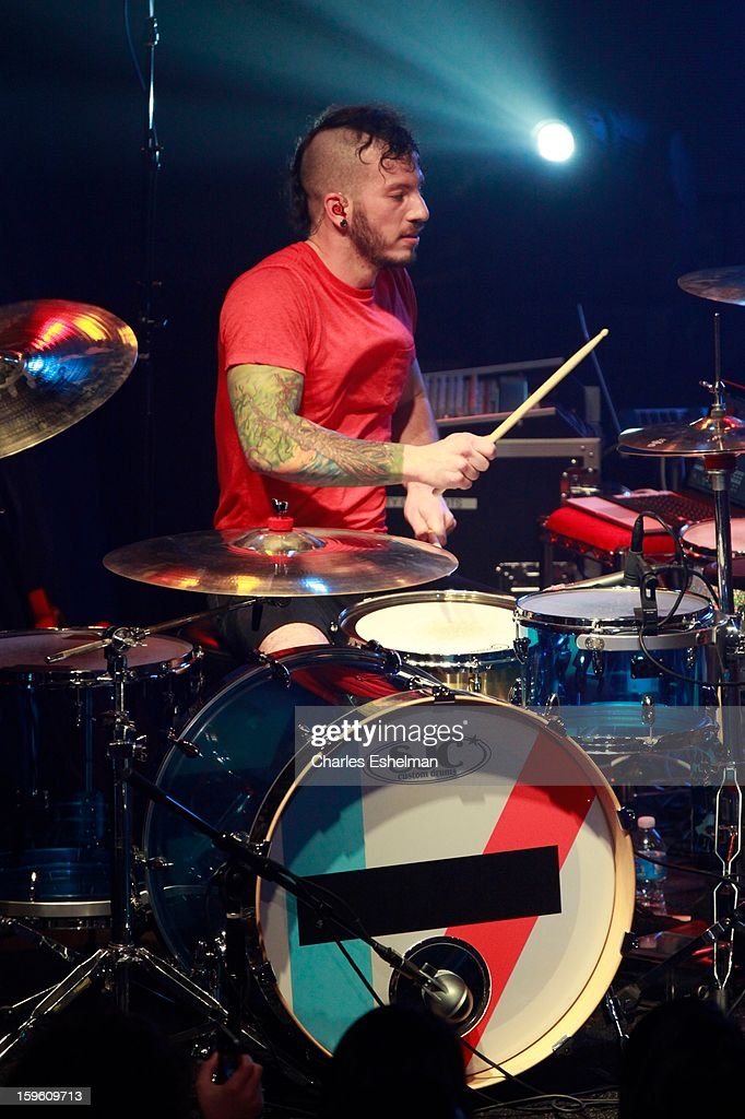 Twenty One Pilots drummer Josh Dun performs during the 2013 MTV Artist To Watch Concert at Highline Ballroom on January 16, 2013 in New York City.