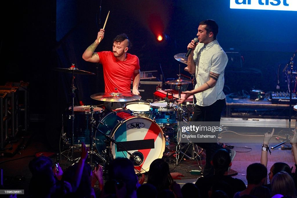 Twenty One Pilots Josh Dun and Tyler Joseph perform during the 2013 MTV Artist To Watch Concert at Highline Ballroom on January 16, 2013 in New York City.