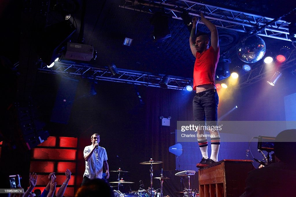 Twenty One Pilots Tyler Joseph and Josh Dun perform during the 2013 MTV Artist To Watch Concert at Highline Ballroom on January 16, 2013 in New York City.