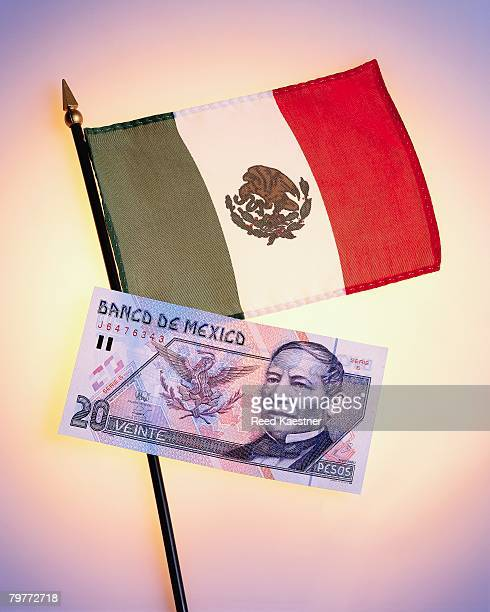 Twenty Pesos Bank Note and Mexican Flag