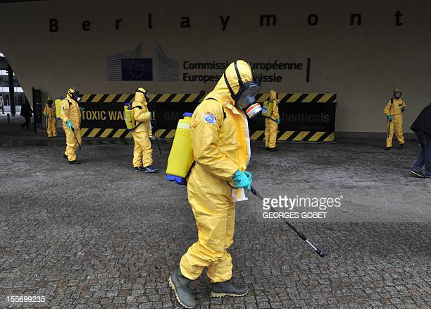 Twenty seven activists one for each EU member state demonstrate outside the Commission headquarters on November 7 2012 at the EU headquarters in...