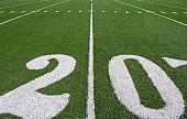 Twenty yard line on football field