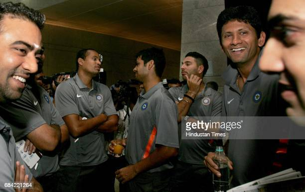 Twenty20 England 2009 Indian cricketers Yusuf Pathan Rp Rudra Pratap Singh Yuvraj Singh and Venkatesh Prasad interact ahead of the teams departure...