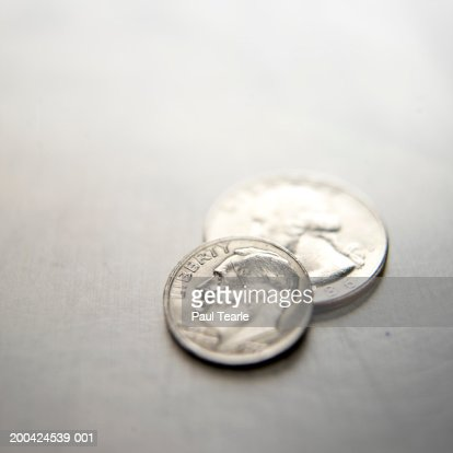 US twenty-five and ten cent coin, close up