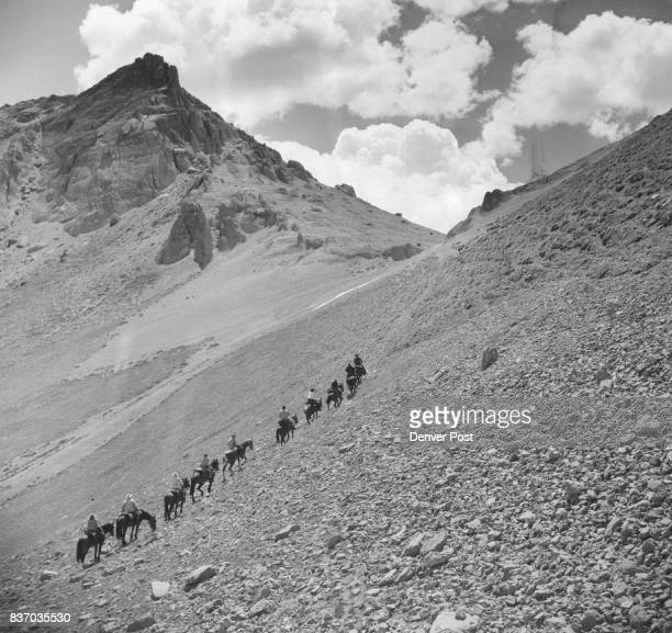 Twentyone riders begin step approach to Ute Pass on third day of a 150mile pack trip into San JuanRio Grande wilderness between Silverton and Wolf...