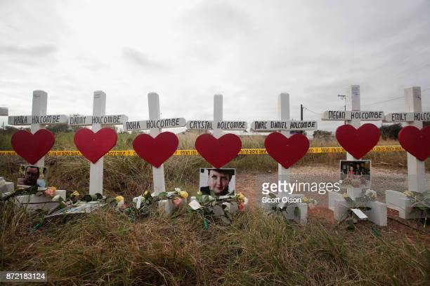 Twentysix crosses sit just outside crime scene tape along Highway 87 near the First Baptist Church of Sutherland Springs to honor the 26 victims...