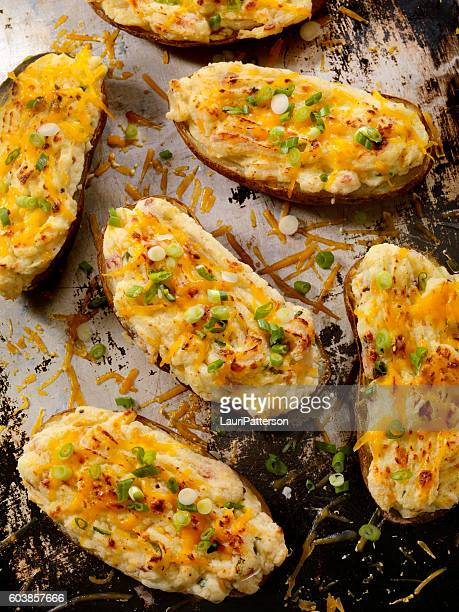 Twice Baked, Stuffed Potatoes with Cheese and Green Onion