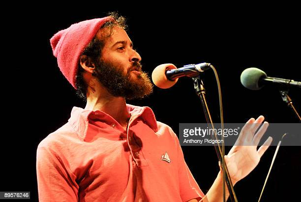 Twice National Poetry Slam Champion Anis Mojgani performs on stage on the LiveWire Radio Show at the Aladdin Theater on April 11 2009 in Portland...