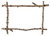 Twig frame on white