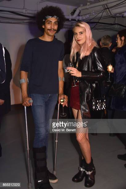 Twiggy Garcia and India Rose James attend a private view of artist Chemical X's new exhibition 'CX300' at The Vinyl Factory on September 28 2017 in...