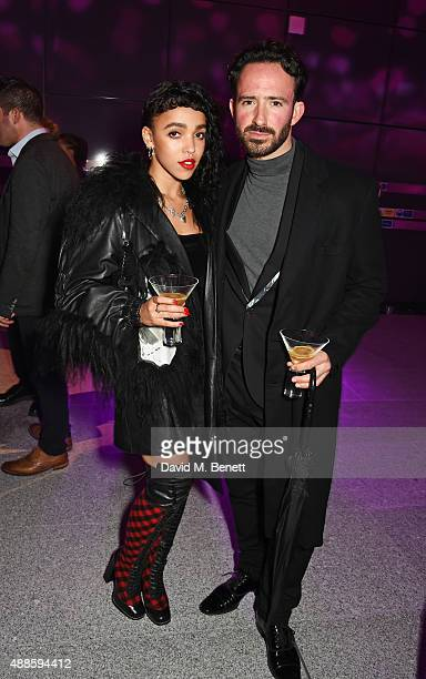 Twigs and Aaron Sillis attend as the London Evening Standard Progress 1000 list is revealed at Canary Wharf Crossrail on September 16 2015 in London...