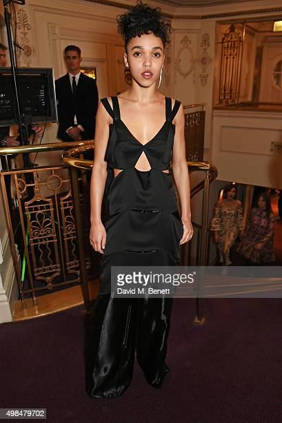 Twigs attends a drinks reception at the British Fashion Awards in partnership with Swarovski at the London Coliseum on November 23 2015 in London...