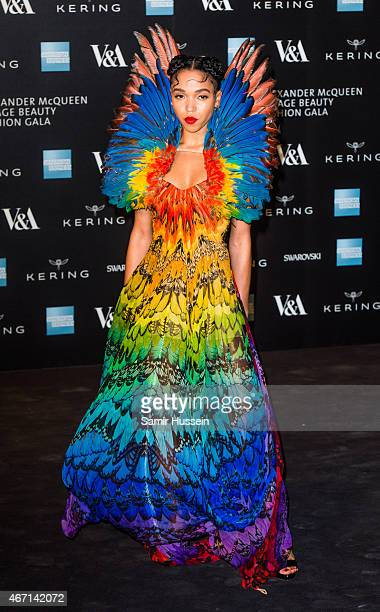 Twigs attends a private view for the 'Alexander McQueen Savage Beauty' exhibition at Victoria Albert Museum on March 12 2015 in London England
