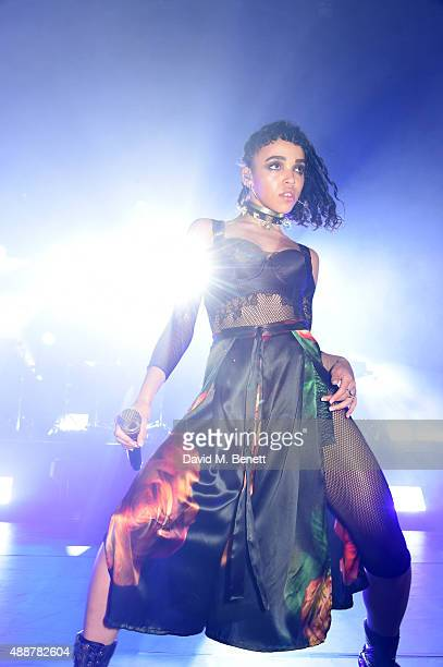 Twigs performs at an exclusive party hosted by MAC Cosmetics in celebration of London Fashion Week at Circus Space on September 17 2015 in London...