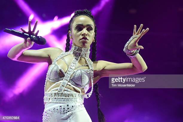 Twigs performs during the 2015 Coachella Valley Music and Arts Festival at The Empire Polo Club on April 18 2015 in Indio California