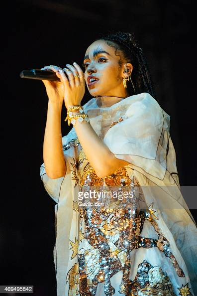 Twigs performs on stage at Coachella Festival at The Empire Polo Club on April 11 2015 in Indio United States