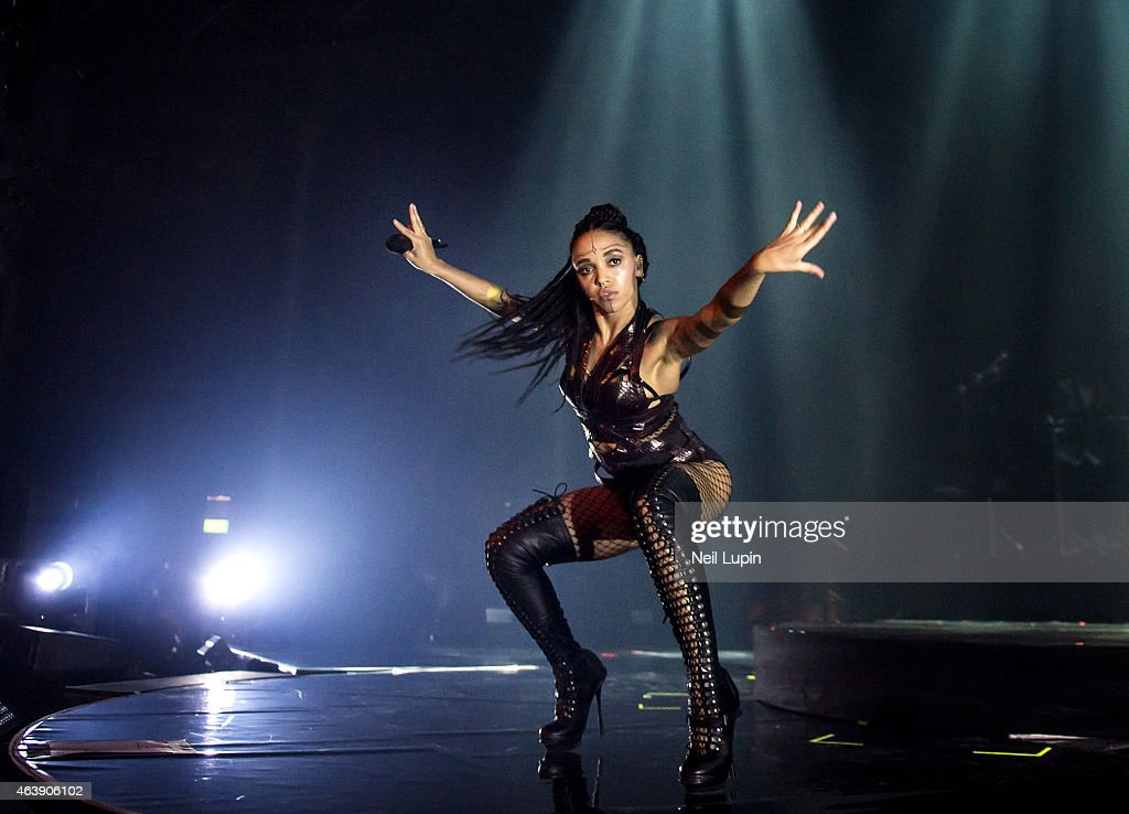 Twigs performs on stage at The Roundhouse on February 19 2015 in London United Kingdom