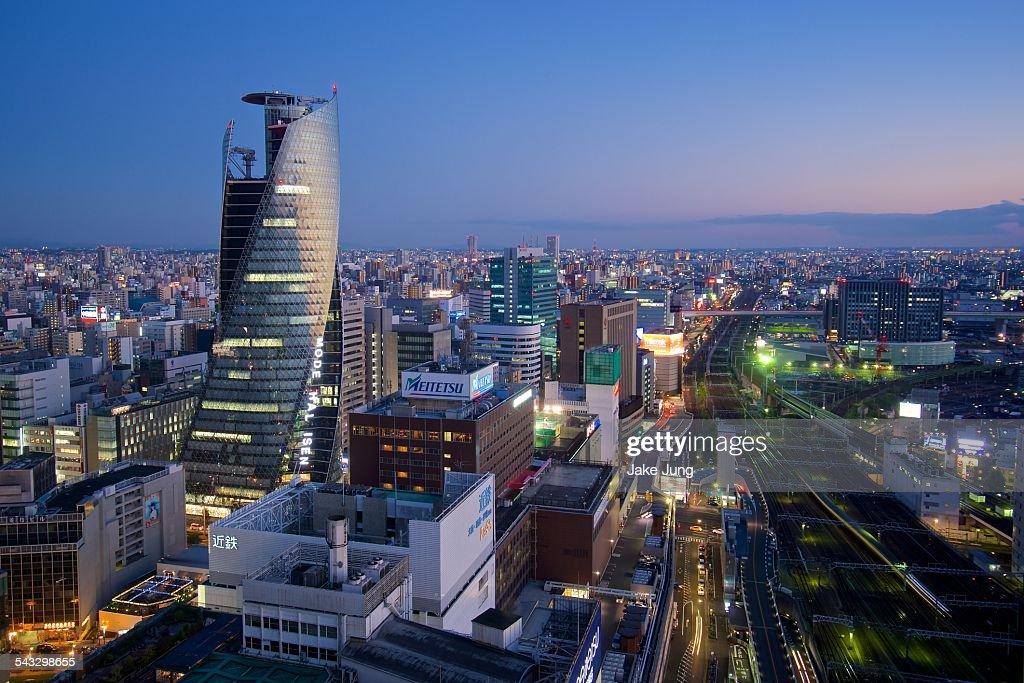 Twilight cityscape of central Nagoya