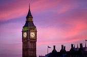 The iconic landmark and famous tourist atraction - clock tower of Big Ben during twilight as seen from the South side of Thames River, London, UK. Shot with Canon EOS 60D, f/5.6, ISO 100.