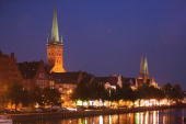 Twilight descends in the city center August 20 2007 in Luebeck Germany Warner Brothers is shooting a film adaptation of 'Buddenbrooks' with German...
