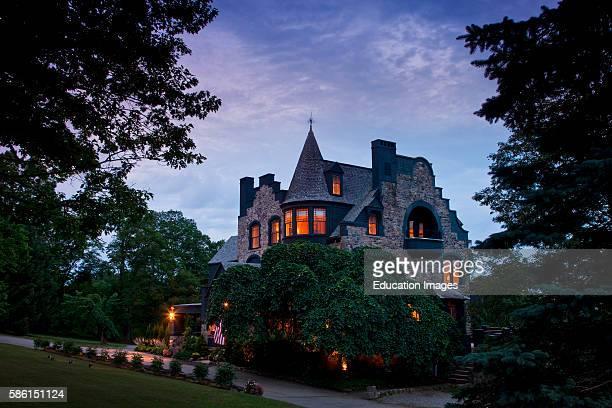 Twilight exterior of Maine Castle Norumbega Inn Camden ME