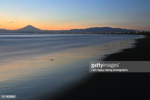 twilight in Katase Enoshima beach.