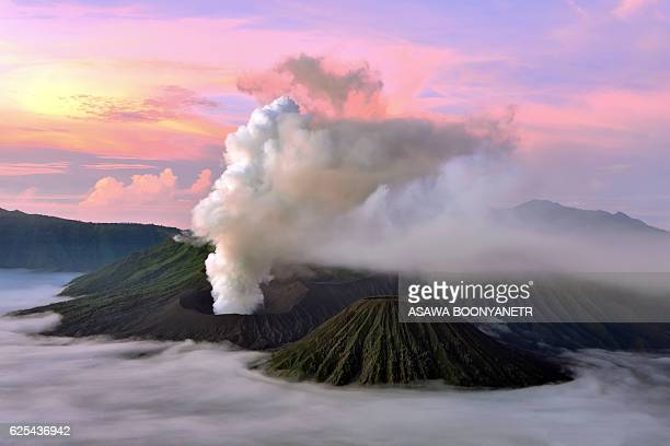 Twilight Mt.Bromo volcano in beautiful mist.